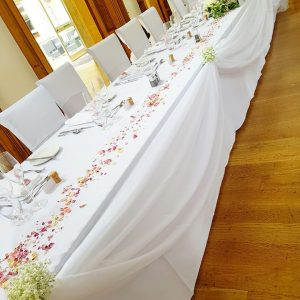 22ft White Top Table Swag & Colour Coordinating Bows