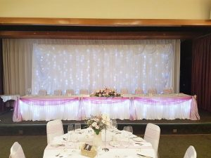 Sparkle back drop and skirts wedding torquay devon