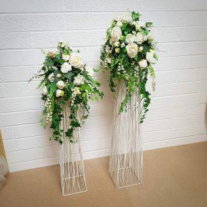 White Wire Stands with Artificial Arrangements