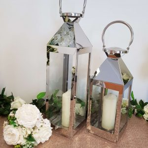 Silver Lanterns with Artificial Candles