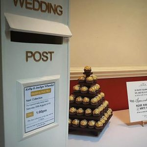 Wooden Post Box Gold Lettering