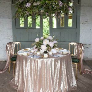 "132"" Round Sequin Table Cloths"
