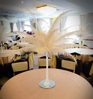 Ostrich feather centre pieces