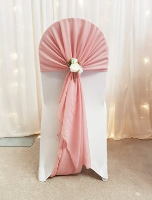 chair cover and chiffon drape