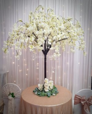 Neutral white blossom trees